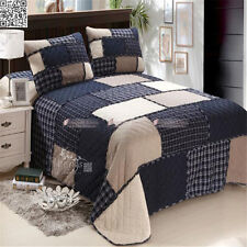 Quilted Coverlet/BedSpreads 3Pcs Queen Country Style Navy Blue Patchwork Set 154