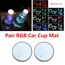 Pair 7 Color LED Car Cup Holder Bottom Pad Light Cover Waterproof With USB Cable