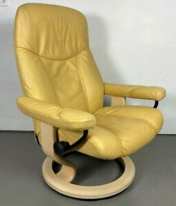 "Ekornes Stressless Leather Recliner Chair Medium ""Consul"" Model"