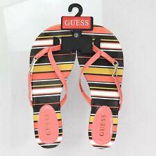 Guess Christa Striped Thong Sandals Rhinestone Guess Logo Flip Flops, Size 9