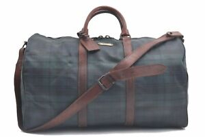 Authentic POLO Ralph Lauren Vintage Green Check Leather Travel Boston Bag C9213
