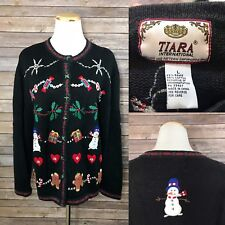 Tiara International Womens Ugly Christmas Sweater Tacky Embellished Cardigan L
