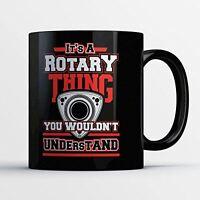 Rotary Coffee Mug - A Rotary Thing - Funny 11 oz Black Ceramic Tea Cup - Cute an