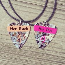 Her Buck His Doe Guitar Pick Country Necklaces couples browning deer camo girl
