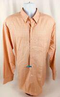 Tommy Bahama Men's L/S Button Down Cotton Peach Checkered Dress Shirt Sz 17.5 35