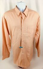 Tommy Bahama Men's L/S Button Down Cotton Peach Checkered Dress Shirt Sz 17.5 35