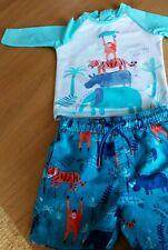 M&S 12-18 Month 2 Part Swim Set    Shorts/Long Sleeve Top - Animal Print