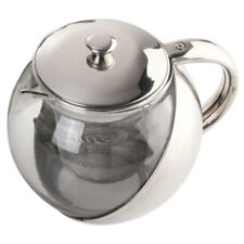 Stylish Stainless Steel + Glass Teapot With Loose Tea Leaf Infuser Silver C4R9
