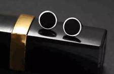 Unisex Quality Surgical Steel 8 mm Round Black Stud Earrings 1 Pair UK Seller