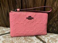NWT COACH 67555 PINK LEMONADE CORNER ZIP WRISTLET sigature leather