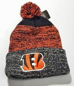 B) New '47 NFL Cincinnati Bengals Cuff Knit Beanie with Pom, Orange Black New