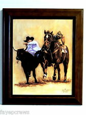WESTERN COWBOY PICTURE BULLDOGGING RODEO COWBOY FRAMED PRINT 8X10