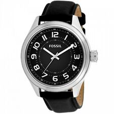 Fossil BQ2244 Men's Classic Black Dial Arabic Numeral Black Leather Watch