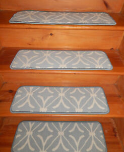 14 = Step 9'' x 27'' + 1 Runner 27'' x 60'' Stair Treads Wool Woven Carpet  .