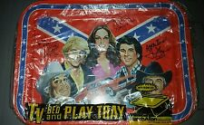 Signed THE DUKES OF HAZZARD Vintage Lunch Tray Autograph Flag General Lee Daisy