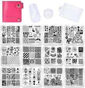 12 x Piastre metalliche per stampi per unghie, Nail art stamping + Stampo, Cover