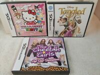 Lot of 3- Nintendo DS Games-Disney TANGLED, HELLO KITTY PARTY, THE CHEETAH GIRLS