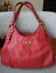 $358 COACH MADISON MAGGIE FUCHSIA PINK LEATHER TOTE SHOULDER BAG 16503
