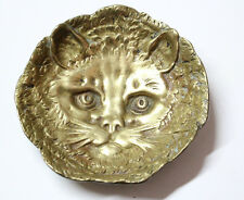 Very interesting old bronze cat face small jewel dish plate centre piece 11,5 cm