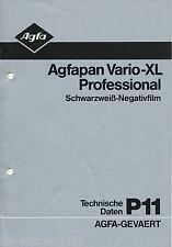 Prospectus AGFAPAN vario xl professional s/w Film tech données p11 12/82 1982