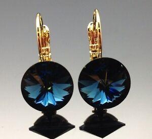 Swarovski Dark Blue Crystal Earring Wedding Lever Back Rhinestone Diamante Gold