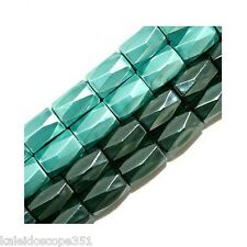 MAGNETIC HEMATITE BEADS 18 FACET CUT 6X8MM TURQUOISE BLUE HIGH POWER HP18B