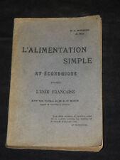 L'Alimentation simple et économique - Dr. Monteuuis 1919 - cuisine diététique