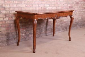 Kindel Furniture French Provincial Louis XV Carved Walnut Writing Desk or Consol