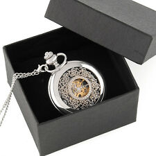 Classic Silver Engraved Case Men Mechanical Pocket Watch Chain Box Hand-Winding
