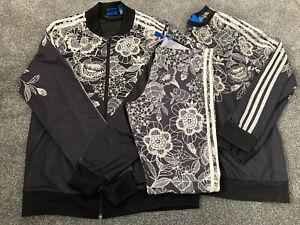 Adidas Tracksuit - Leggings - Jumper - Set - Black White - Jacket Ladies Size 16