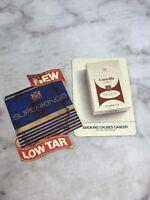 Vintage Set of 2 Beer Drink Coasters Smoking Cigar Cigarette Advertising Barware