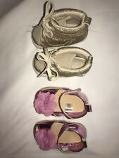 2 pairs of Baby Girl Shoes worn once each. Pink gold dressy lot