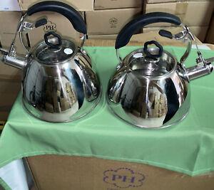 Princess House Stainless Steel Whistling Tea Kettle Set 2.5Qt & 1.5Qt NIB #6892