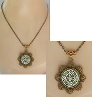 Celtic Knot Necklace Flower Gold Pendant Jewelry Handmade Chain Women Fashion