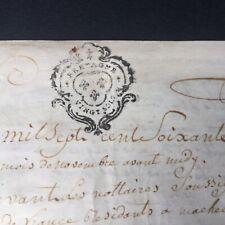 Parchemin Acte Notarié 1773 Marque Généralité De Bretagne