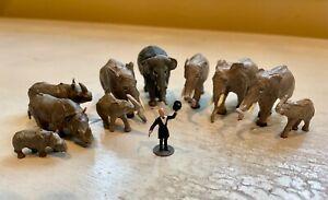11pcs Vintage HO Scale 1:87 Preiser Circus elephants w/Merten Trainer & Rhinos
