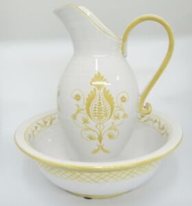 """Vintage Italian Pottery Pitcher and Bowl Basin Wash Set White Yellow Huge 13.5"""""""