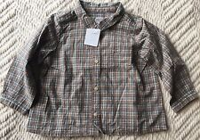 Bonpoint Baby Boys Beige/Green Plaid Shirt Size 18M 18 Months*NWT*
