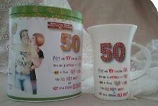 Boxer Gifts fine china mug plus empty biscuit tin set 50 years birthday fun NWOT