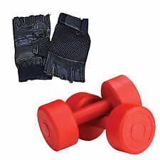 Fitfly 10kg (5kg x 2) PVC Dumbbell Set With Hand Gloves Combo Gym Exerciser