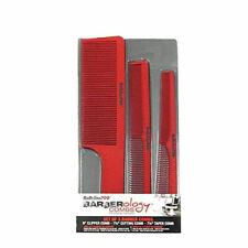Babyliss Pro Barberology Red Clipper Flat Top, Taper & Cutting Comb 3pc Set
