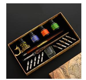 Calligraphy Gift Box Set Fountain Dip Pen Holder 10 Nibs Ink Bottle Journal Art