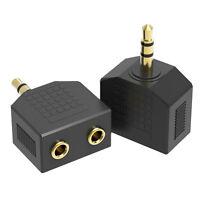 Schwarz Audio Klinken Y Adapter Klinke Stecker auf 2x Klinkenbuchse