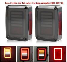 EURO LED Tail Lights Smoke Lens For Jeep Wrangler 2007-2017 JK Reverse  Brake
