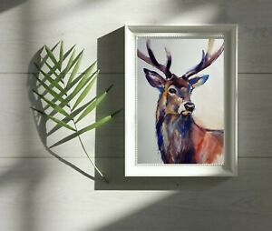 A3 Large original  watercolour animal painting , Stag Deer