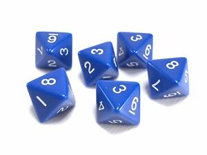 8 Sided D8 Dice- Blue Opaque 15mm 6 Pieces - Blue with White Numbers US SELLER