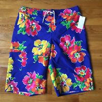 Boy's Polo Ralph Lauren XL 18-20 Blue Floral Swim Boardshorts Bathing Suit