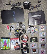 Nintendo 64 Console N64 + Playstation PS2 Vintage Video Games Memory Card Rumble