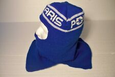 Vintage Polaris Snowmobile Racing Full Face Winter Knit Ski Mask Hat Cap Blue