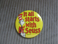 Dr. Seuss Cat in the Hat Pinback Button It all Starts With Dr. Seuss large 4 in.